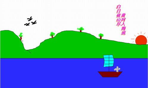 三年级学生电脑绘画作品欣赏——白日依山尽